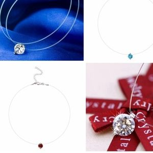 Jewelry - Floating Red Zircon Crystal Invisible Line Choker